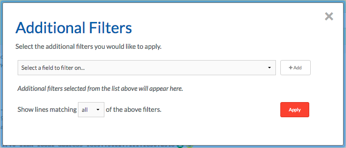 """Additional log filters pop up"""